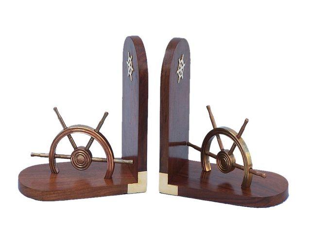 Set of 2 - Antique Brass Ship Wheel Book Ends 8