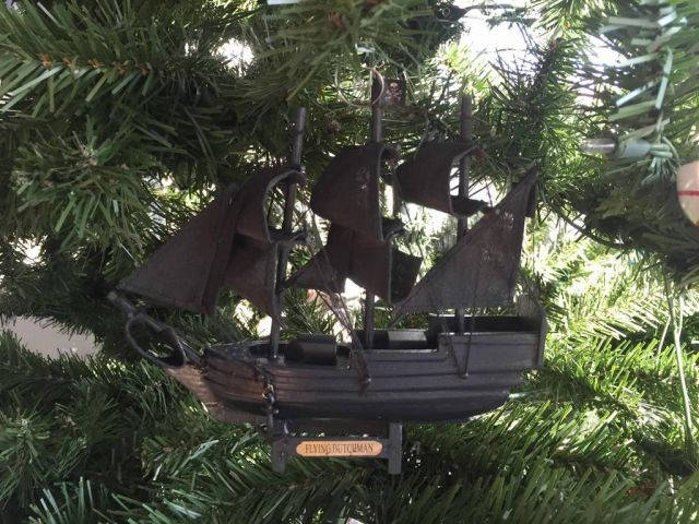 Wooden Flying Dutchman Pirates of the Carribbean Model Pirate Ship Christmas Tree Ornament