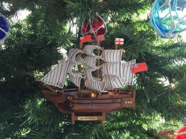 Wooden HMS Bounty Model Ship Christmas Tree Ornament