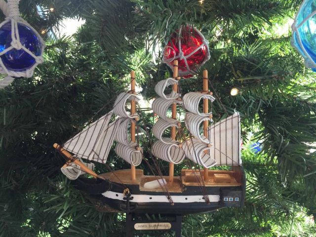 Wooden HMS Surprise Master and Commander Model Ship Christmas Tree Ornament
