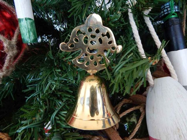 Brass Snow Angel Bell Christmas Tree Ornament