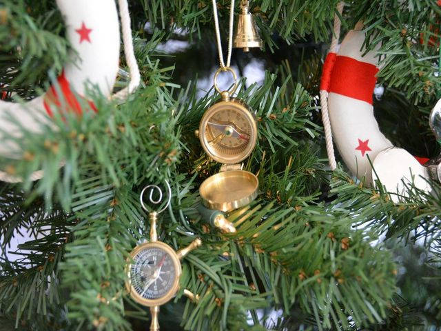 Solid Brass Magellan Compass Christmas Tree Ornament