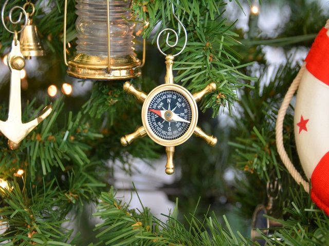 Brass Ships Wheel Compass Christmas Tree Ornament