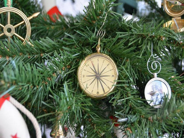 Brass Emerson Poem Compass Christmas Tree Ornament 5