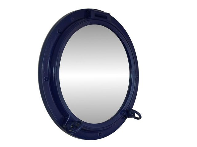 Navy Blue Decorative Ship Porthole Mirror 15