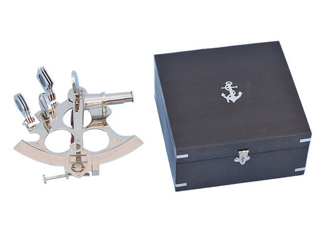 Captainandapos;s Chrome Sextant 8 with Black Rosewood Box