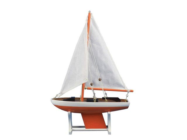 Wooden It Floats 12 - Orange Floating Sailboat Model