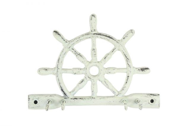Whitewashed Cast Iron Ship Wheel With Hook 8