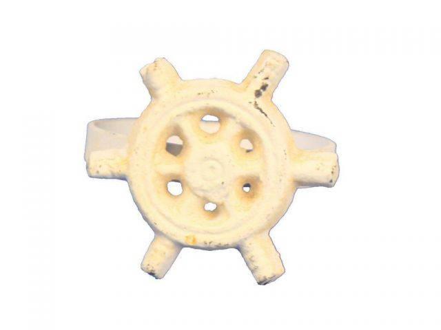 Antique White Cast Iron Ship Wheel Napkin Ring 2 - set of 2