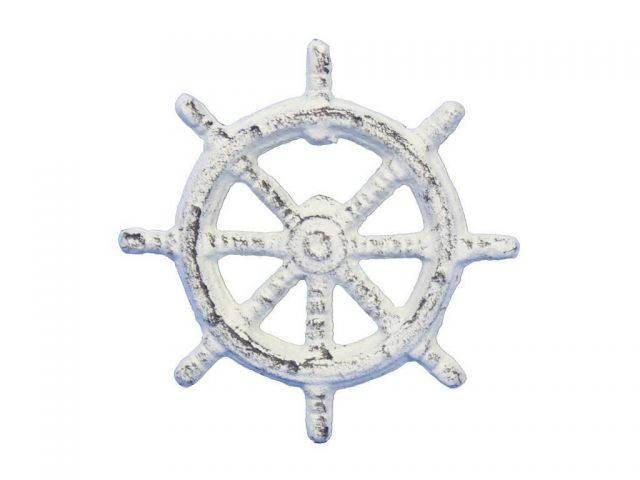Whitewashed Cast Iron Ship Wheel Bottle Opener 3.75