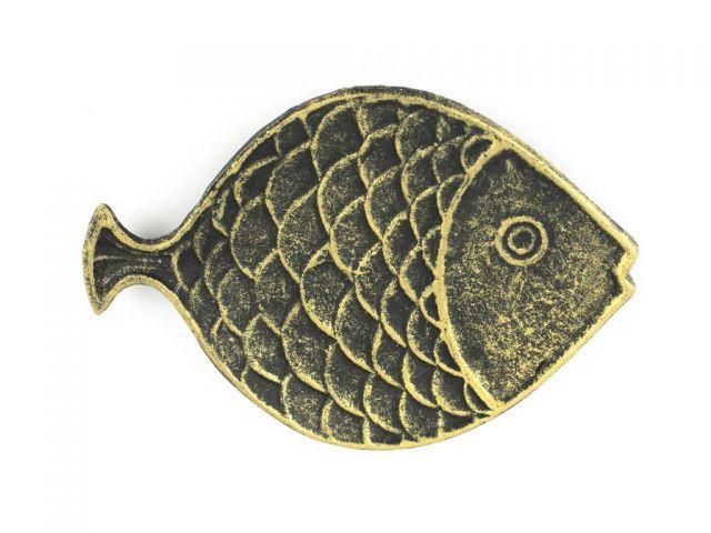 Antique Gold Cast Iron Fish Decorative Plate 8