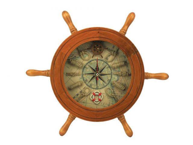 Wooden Ship Wheel Knot Faced Clock 12