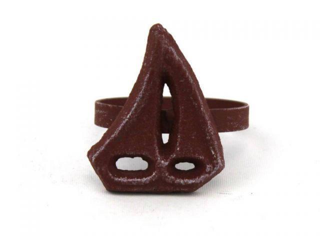 Red Whitewashed Cast Iron Sailboat Napkin Ring 2 - set of 2