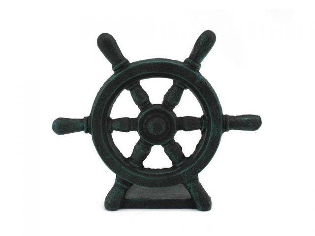 Seaworn Blue Cast Iron Ship Wheel Door Stopper 9