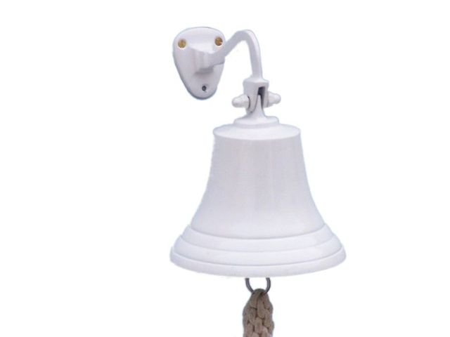 Solid Brass Hanging Ships Bell 9 - White Powder Coated