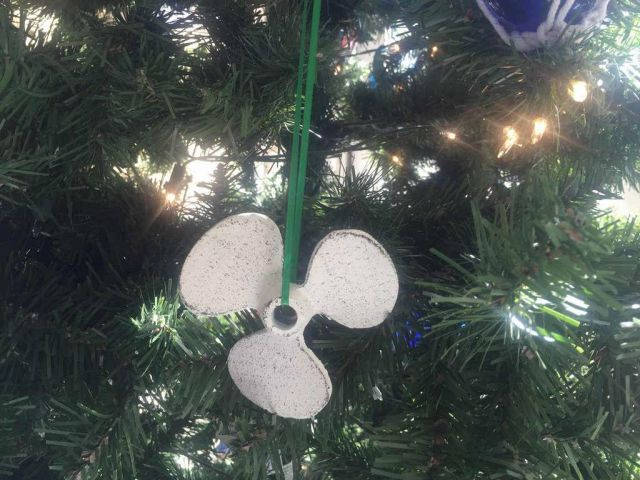 Whitewashed Cast Iron Propeller Christmas Ornament 4
