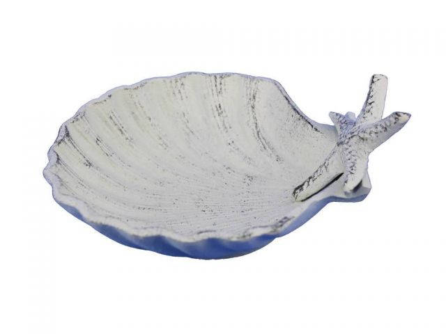 Whitewashed Cast Iron Shell With Starfish Decorative Bowl 6