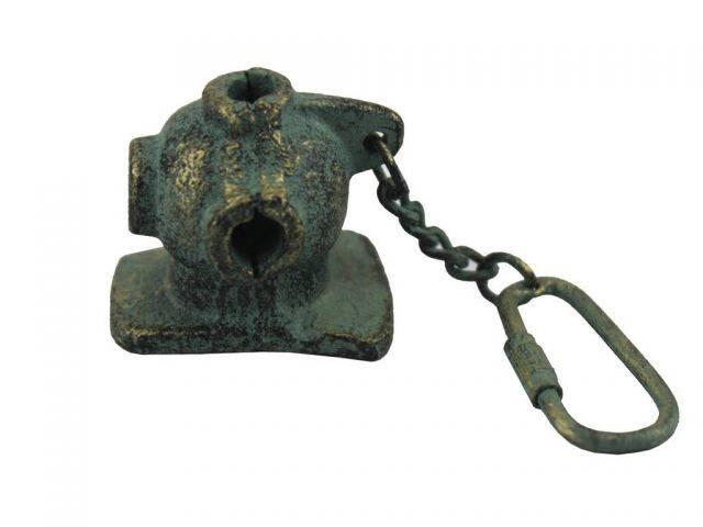 Antique Bronze Cast Iron Diver Helmet Key Chain 5