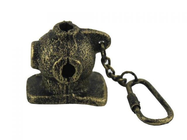 Antique Gold Cast Iron Diver Helmet Key Chain 5