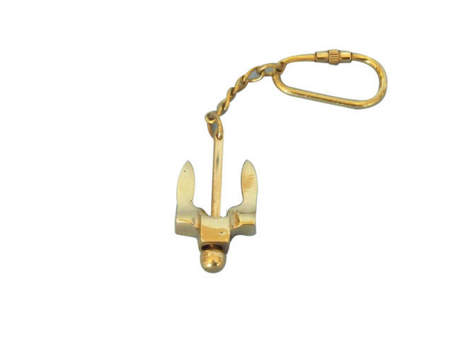 Solid Brass Navy Stockless Anchor Key Chain 5