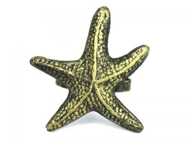 Antique Gold Cast Iron Starfish Napkin Ring 3 - set of 2