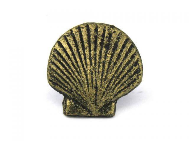 Antique Gold Cast Iron Seashell Napkin Ring 2 - set of 2