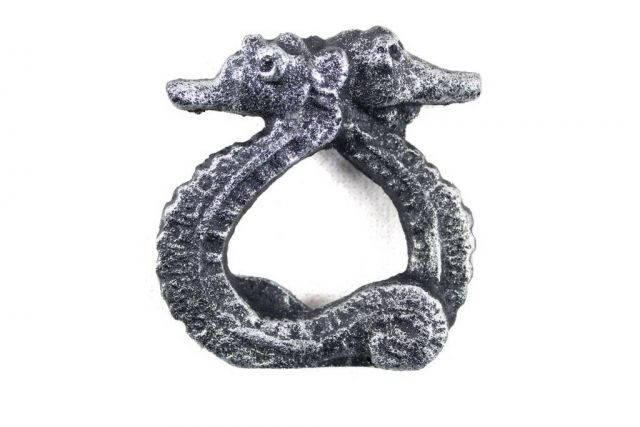 Antique Silver Cast Iron Seahorse Napkin Ring 3 - Set of 2