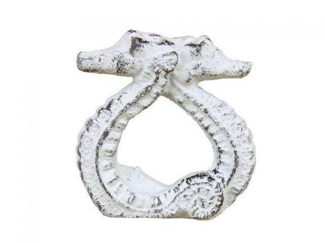 Rustic  Whitewashed Cast Iron Seahorse Napkin Ring 3 - Set of 2