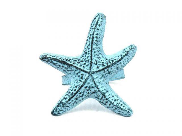 Dark Blue Whitewashed Cast Iron Starfish Napkin Ring 3 - set of 2