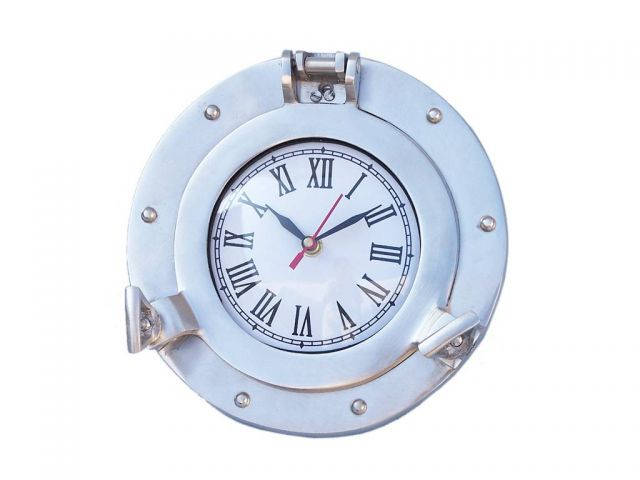 Brushed nickel deluxe class decorative ship porthole clock 8 - Large brushed nickel wall clock ...