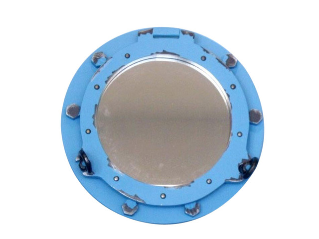Wooden Rustic Distressed Blue Porthole Mirror 14