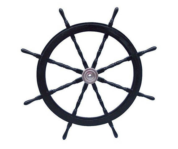 Deluxe Class Wood and Chrome Decorative Pirate Ship Steering Wheel 72