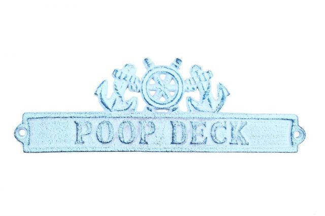 Dark Blue Whitewashed Cast Iron Poop Deck Sign with Ship Wheel and Anchors 9