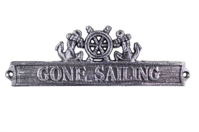 Antique Silver Cast Iron Gone Sailing Sign with Ship Wheel and Anchors 9