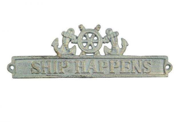 Antique Bronze Cast Iron Ship Happens Sign with Ship Wheel and Anchors 9
