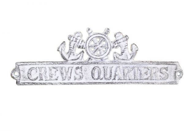 Whitewashed Cast Iron Crews Quarters Sign with Ship Wheel and Anchors 9