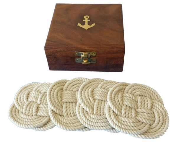 Set of 4 - Rope Coasters w- Anchor Box 4