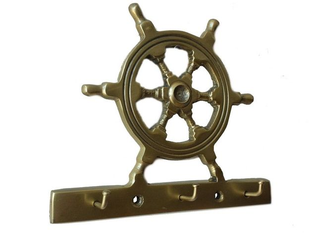 Antique Brass Steering Wheel Key Rack 7