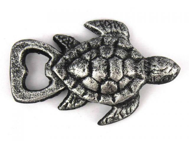 Antique Silver Cast Iron Turtle Bottle Opener 4.5