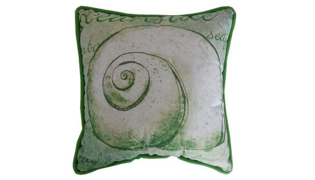 Green and White Nautilus Decorative Throw Pillow 10