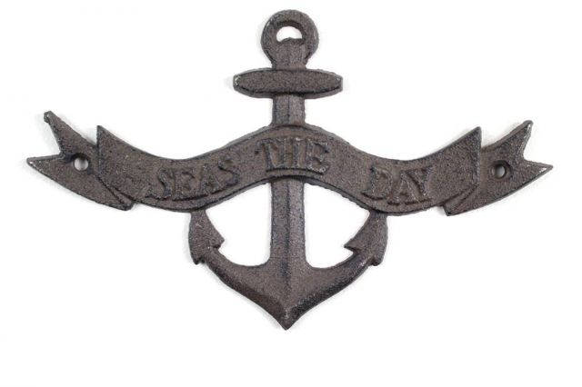 Cast Iron Seas the Day Anchor Sign 8