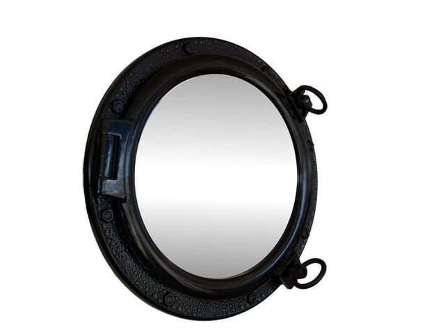 Gloss Black Decorative Ship Porthole Mirror 20