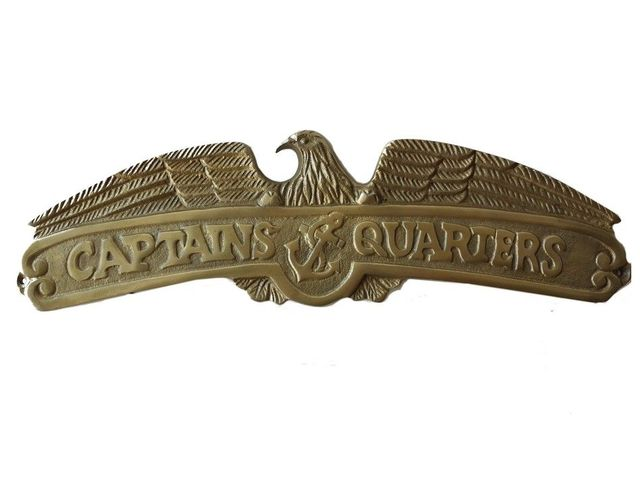 Antique Brass Captains Quarters Sign 16