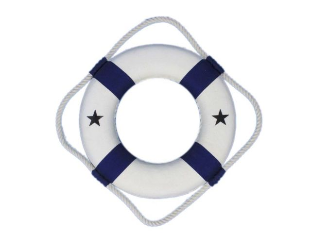 Classic White Decorative Lifering with Blue Bands 10
