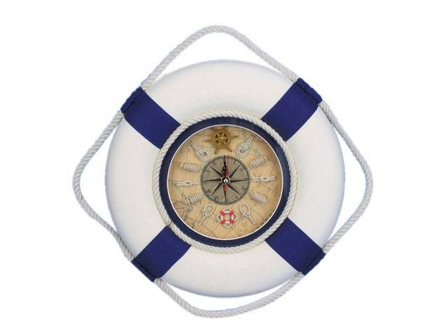 Classic White Decorative Lifering Clock with Blue Bands 12