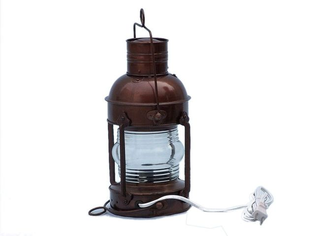 Antique Copper Anchor Electric Lantern 12