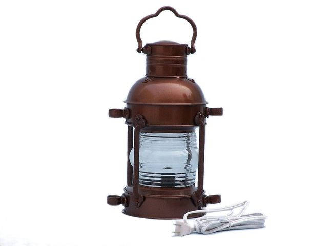 Antique Copper Anchor Electric Lantern 15