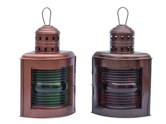 Antique Copper Port and Starboard Oil Lamp 17