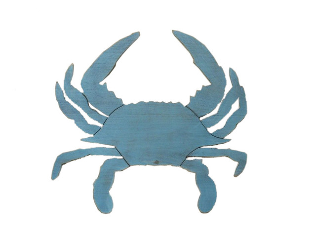 Wooden Rustic Ocean Blue Wall Mounted Crab Decoration 32