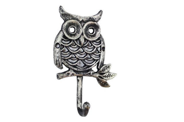 Rustic Silver Cast Iron Owl Hook 6